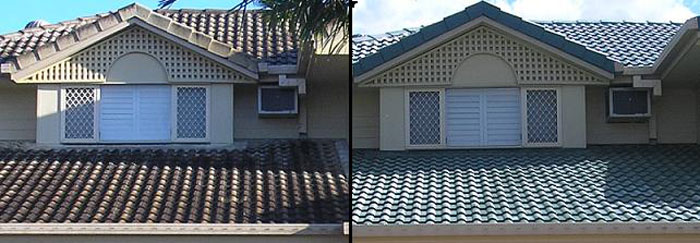 Before and after photo, House roof repaired and roof repainted giving the roof as complete roof restoration.