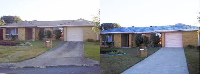 before and after photo of a full roof replacement on a Brisbane home