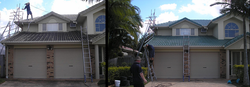 a mand standing on the roof repairing and roof restoration in progress